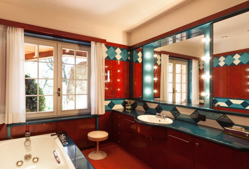 Красная ванная - 120 фото лучших идей дизайна и советы по подбору сочетаний. Особенности интерьерных решений для красных ванных комнат