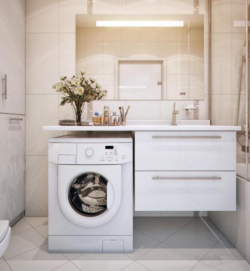 Стиральная машина в ванной: особенности установки, подбор места и основные варианты размещения (100 фото)