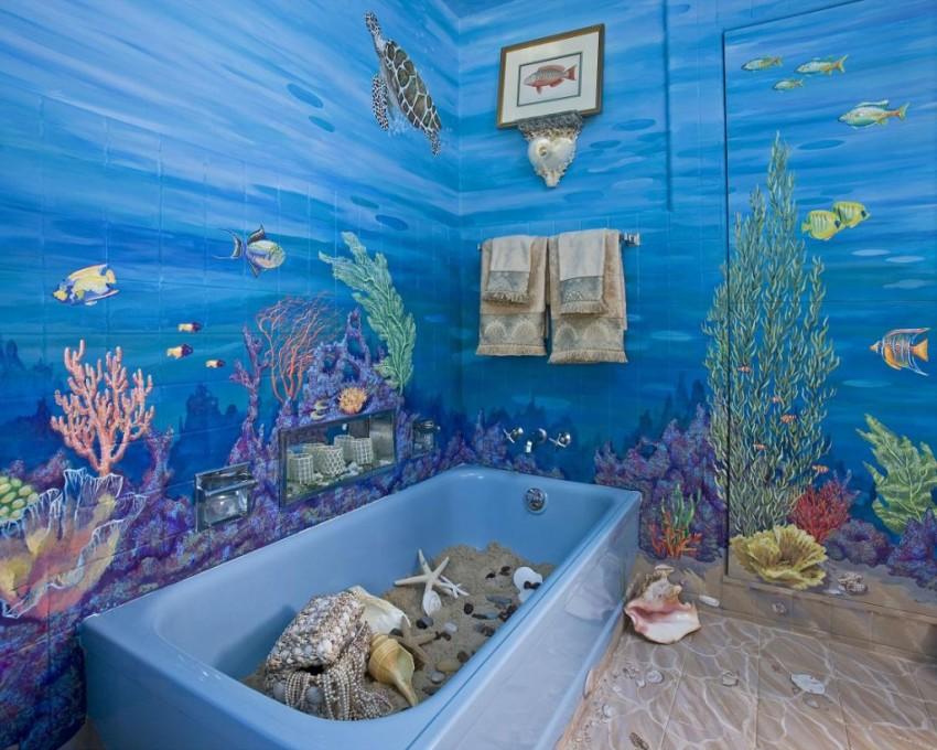 Ванная в морском стиле: тонкости оформления и особенности создания морской атмосферы (95 фото)