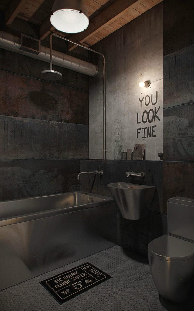 Ванная в стиле Лофт: практические советы по выбору основных элементов стиля и подбору элементов дизайна (110 фото)