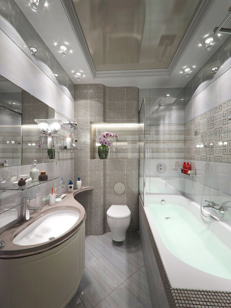 Зеркальный потолок в ванной - 95 фото и видео лучших идей размещения зеркальных поверхностей
