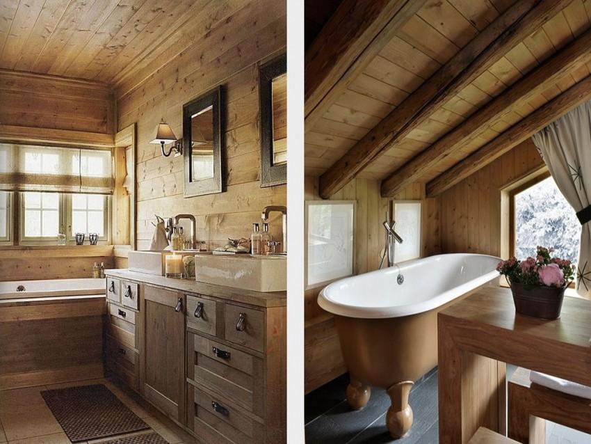 Ванная в деревянном доме - правила отделки, подвода коммуникаций и размещения основных элементов ванной комнаты (130 фото)